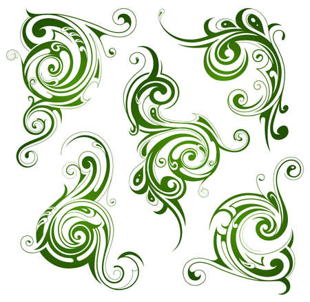 floral swirls: Set of decorative swirls with floral style elements