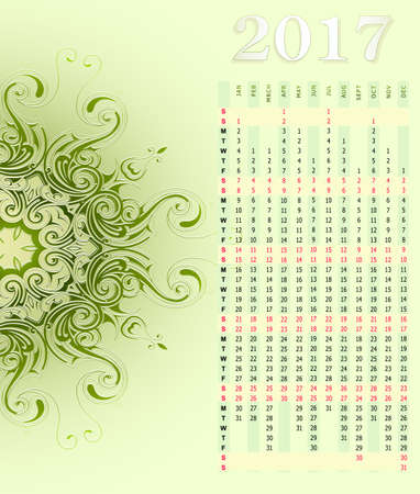 months: Vertical calendar for year 2017 with ornamental backdrop Illustration