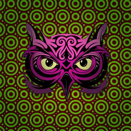 mystical: Mystic owl head shape with hypnotizing stare Illustration