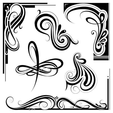 artnouveau: Decorative elements and vintage frame set in art nouveau style