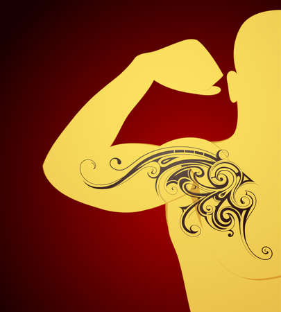 Body art tattoo shape sample on human skin surface