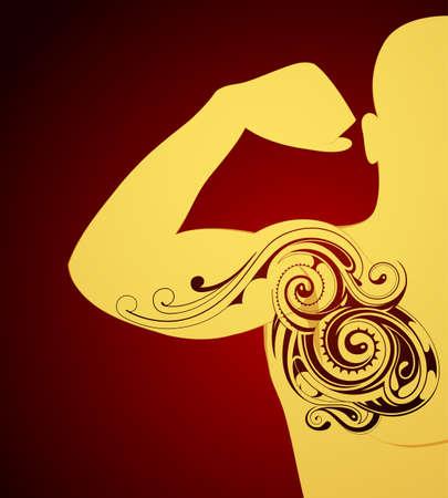 Body art tattoo shape sample on human skin surface Illustration
