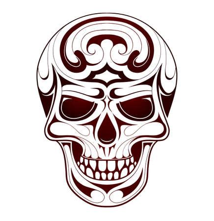 Skull tribal tattoo met ethiek stijl wervelingen