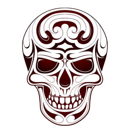 ethic: Skull tribal tattoo with ethic style swirls
