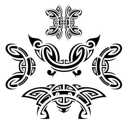 origin: Set of ethnic tattoo shapes as design elements. Maori and Aztec origin