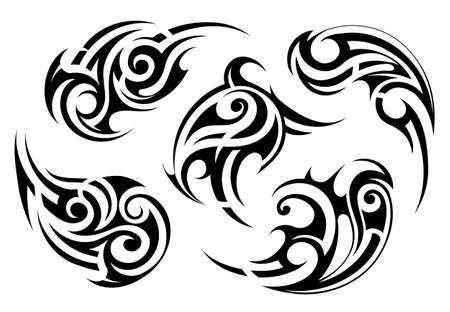 Conjunto de formas de tatuaje estilo étnico maoríes Ilustración de vector