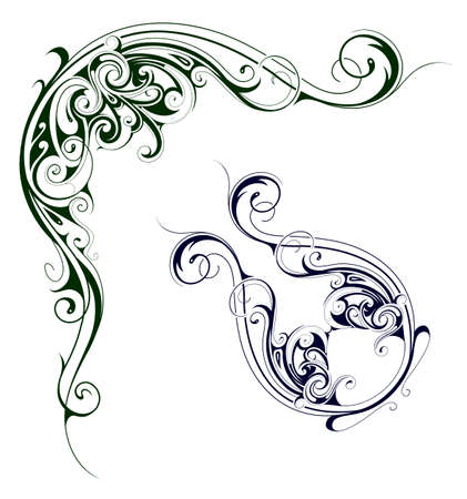 floral swirls: Elegant floral swirls as design elements for various graphic projects Illustration
