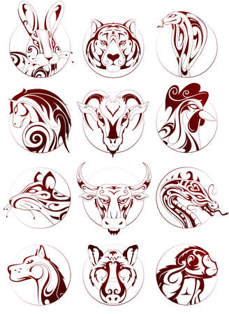 Set of Chinese zodiac astrological signs as ink sketches in circle badges