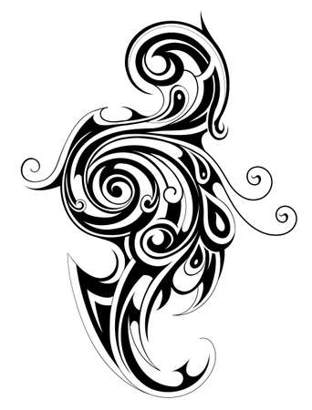 ethnic tattoo: Decorative ethnic tattoo shape with floral elements