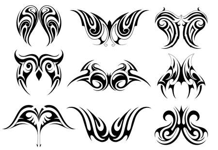 Set of tribal art tattoos including various ethnic style - Maori, Gothic and Celtic