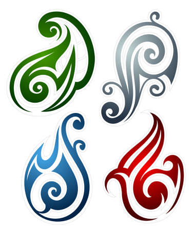 the four elements: Set of main elements as tattoo emblems: earth, wind, fire and water