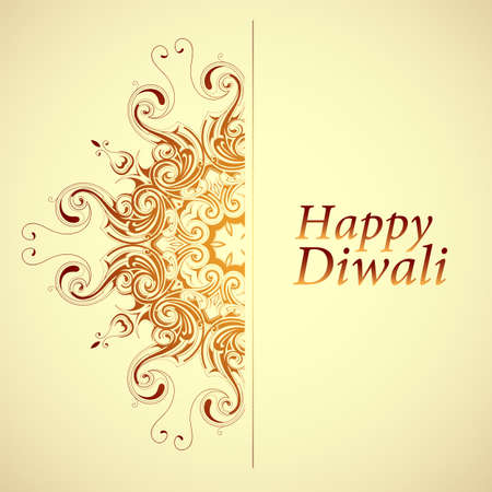 Happy Diwali. Elegant greeting card design with traditional Indian ornament