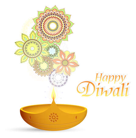 religious celebration: Diwali festival greeting card with traditional ornaments Illustration