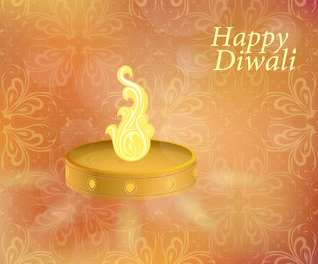 religious celebration: Diwali lamp on greeting card with ethnic ornament Illustration