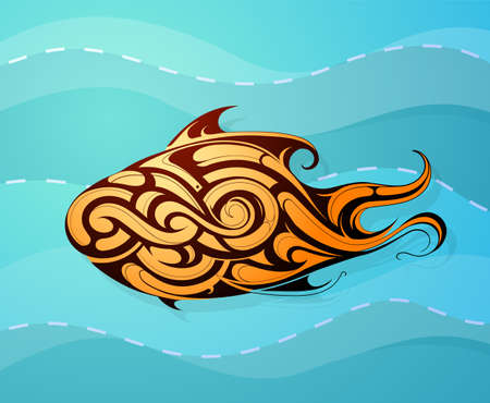 swiming: Decorative fish as ethnic tattoo shape swiming underwater Illustration