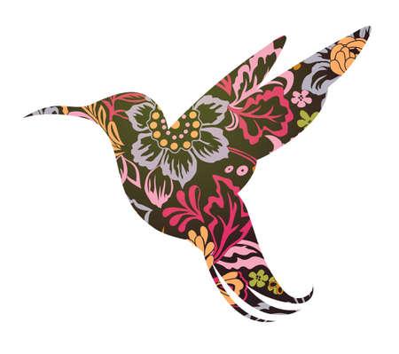 Colibri Silhouette in ornamentalen Blumen-Tattoo-förmigen
