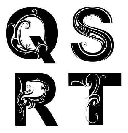 capitals: Decorative alphabet set. Font type Q, R, S and T letters Illustration