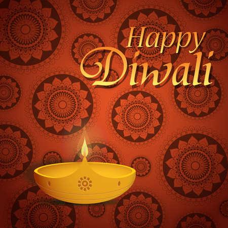 religious celebration: Happy Diwali greeting card design with traditional diya lamp
