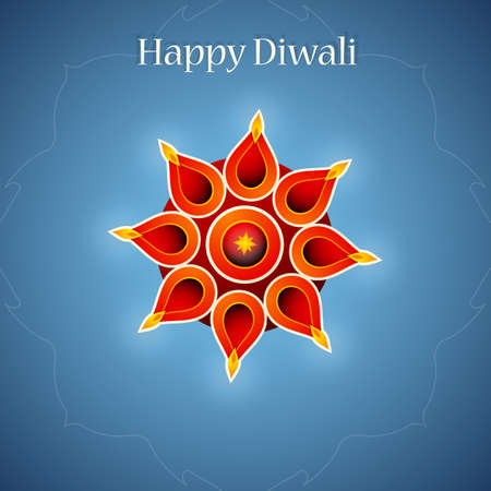 religious celebration: Diwali festival greeting card design with lamp as symbol of holiday Illustration