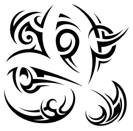 Set of tribal art tattoo shapes in Gothic style Illustration