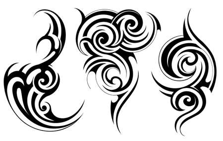 scroll design: Set of decorative liquid shapes with ethnic tattoo elements Illustration