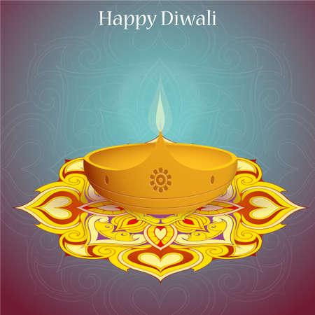 religious celebration: Elegant greeting card design for Indian festival Diwali