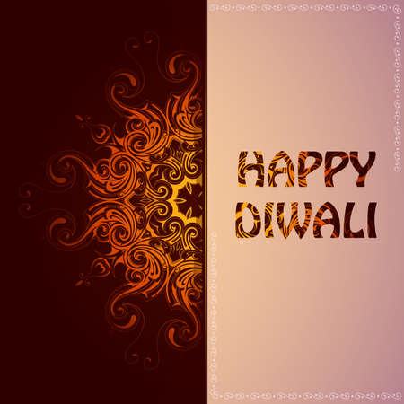 religious backgrounds: Elegant card for Indian festival Diwali with greetings