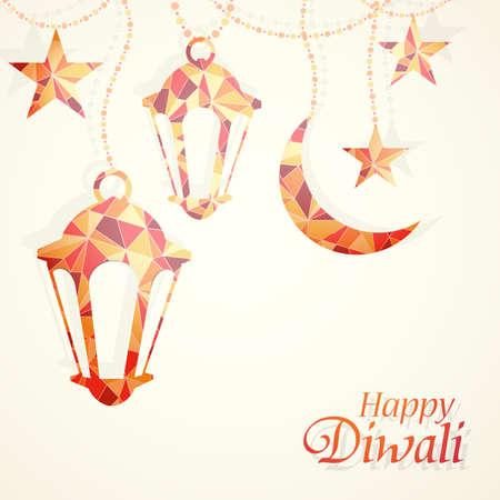 religious celebration: Traditional Indian festival Diwali greeting card design