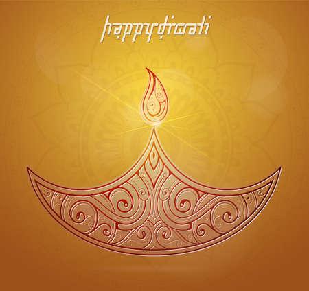 religious celebration: Elegant greeting card for Diwali festival with diya lamp