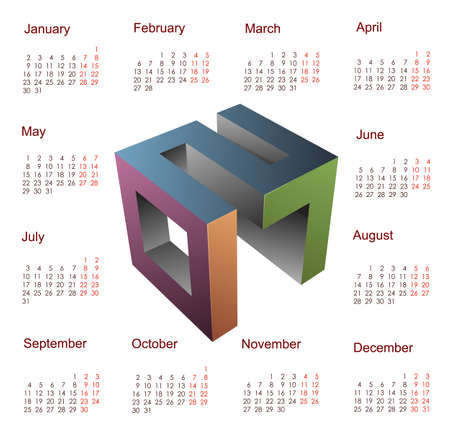 seasons of the year: 3D emblem for year 2017 with square calendar template Illustration