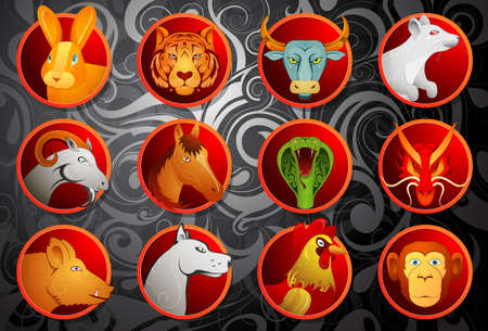 Chinese zodiac animal signs set in cartoon style with decorative background
