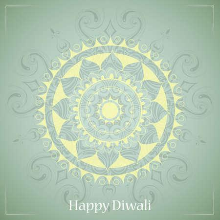 religious celebration: Diwali festival greeting card design with ethnic ornament