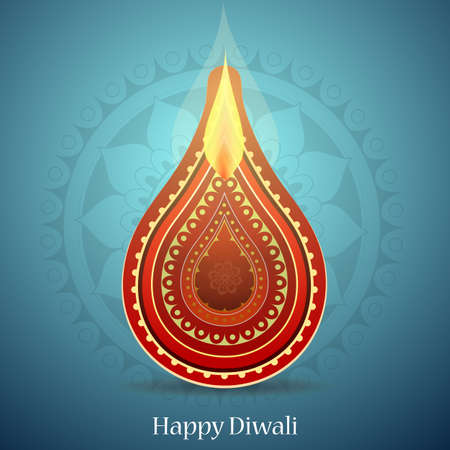 religious celebration: Indian festival Diwali greeting card design with ethnic ornament