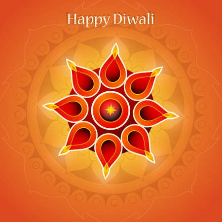 religious celebration: Diwali festival greeting card design with traditional ornament Illustration