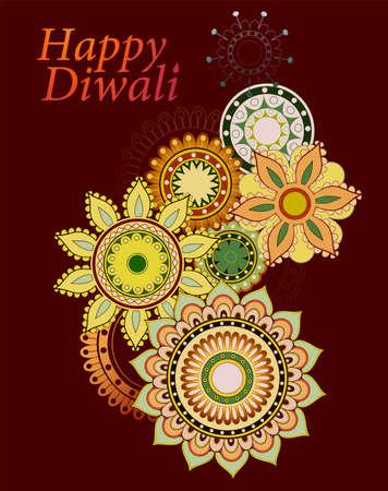 religious celebration: Happy Diwali greeting card design with ethnic ornament Illustration