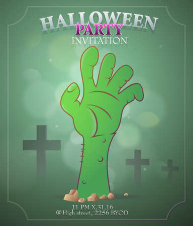 party design: Halloween night party invitation card template design Illustration