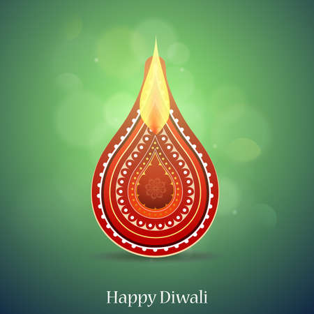 religious celebration: Indian festival Diwali greeting card design with lamp concept