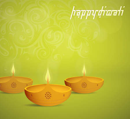 holiday greeting: Indian festival Diwali greeting card with lamp as symbol of holiday Illustration