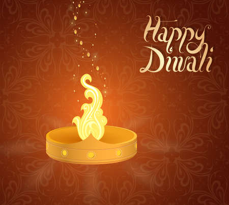 religious celebration: Diwali traditional lamp on greeting card template Illustration
