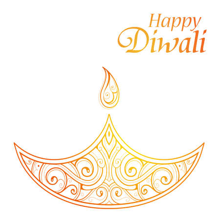 religious celebration: Indian festival Diwali greeting card with traditional lamp