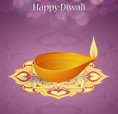 religious celebration: Indian festival Diwali greeting card with lamp as symbol of celebration