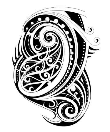 白い背景のマオリの民族スタイル タトゥー図形