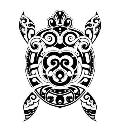ancient turtles: Turtle tattoo design drawn in Maori ethnic style Illustration