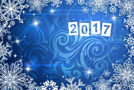 Nieuw-jaar wenskaart sjabloon met exemplaar ruimtegebied en 2017 datum Vector Illustratie