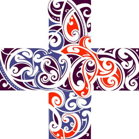 cross shape: Maori tribal style tattoo cross shape with floral elements