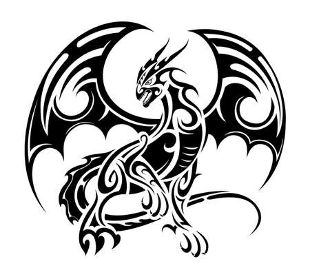 black: Dragon tattoo design standing with spreading wings