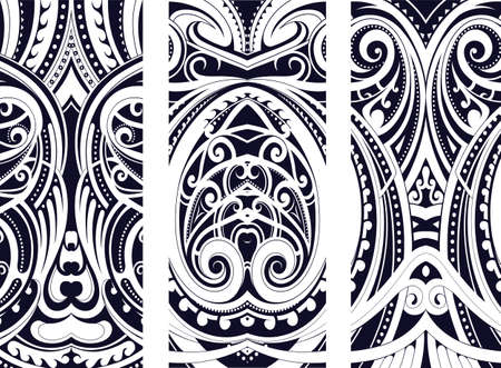 Set of Maori style ornaments. Ethnic themes can be used as body tattoo or ethnic backdrop.