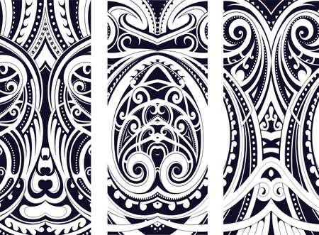 Set van Maori stijl ornamenten. Etnische thema's kunnen worden gebruikt als body tattoo of etnische achtergrond.