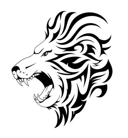 Lion tattoo design. Head tattoo done in tribal art style