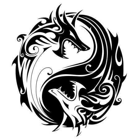 Yin Yang symbol tatuaż w kształcie dwóch smoków bojowych Ilustracje wektorowe